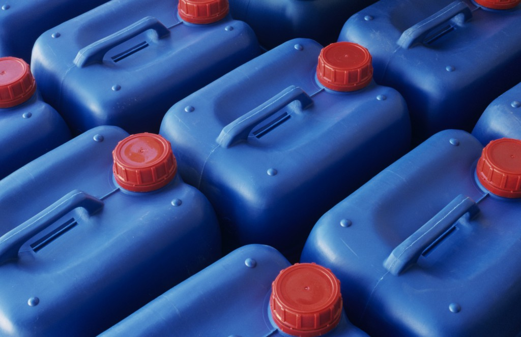 Plastic jerry cans in Plastics factory, Spain, close-up, elevated view